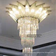 modern hotel Decoration Crown Design Lighting Chrome ceiling pendant Crystal long Chandelier