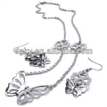 Jóias de moda de borboleta conjuntos brincos e colar