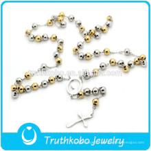 TKB-JN0021Pendentif en acier inoxydable de haute qualité deux chapelets catholiques Virgin Mary Crucifix collier en acier inoxydable pour femmes