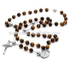 65cm Long Collier Femmes En Acier Inoxydable 316L Collier Chapelet Religieux Oeil De Chat Perles Bijoux Avec Prier Croix