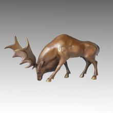 Tier Hirsch Statue Moose Bronze Skulptur, Gorini Tpal-063