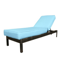 Outdoor Wicker Adjuster Back Fabric Chaise Lounge