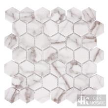 Mosaïque en verre d'impression hexagonale d'or Nature Calacatta