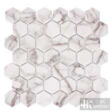 Nature Calacatta Gold Hexagon Printing Glass Mosaic