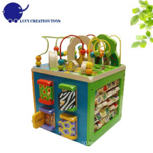 Kids Educational Multi-functional 5 in 1 Wooden Zoo Intelligent Playing Activity Cube