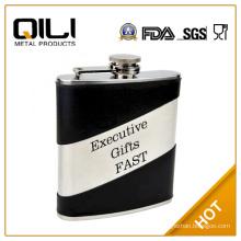 FDA 7oz Split Leather Hip Flask with Engravable Surface