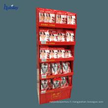 Support cosmétique de support de rouge à lèvres de partie supérieure du comptoir de carton d'usine de 6 ans, présentoir carré de rouge à lèvres de compteur de trou
