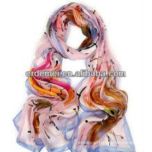 Spring/autumn printed pure silk scarf