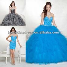 HQ2040 Deep purple removable skirt strapless sleeveless sweetheart neck beade crystals corset detachable quinceanera dresses