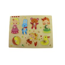 Wooden Girl Playing PuzzleToy for Kids and Children