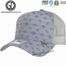 Trendy Washed Denim Paisley Pattern Mesh Baseball Hat/ Trucker Cap
