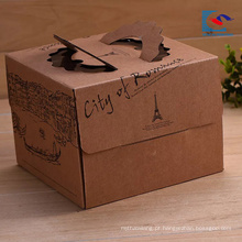 Caixa de papel personalizada do bolo de kraft do marrom do logotipo da alta qualidade com punho