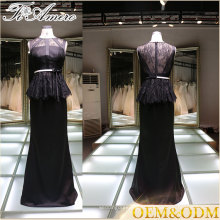 2017 China supplier vestido de noche negro elegante de las mujeres del vestido del baile de fin de curso del cordón con la correa