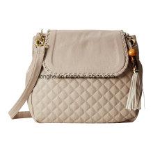 Quilted Design Tassel Charm Women Crossbody Bag (ZXS0117)