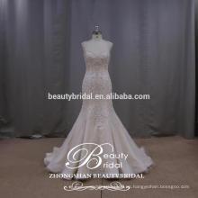 Lindo Queen Anne vestido de seda sirena brillo deslumbrante bordado vestido de novia backless