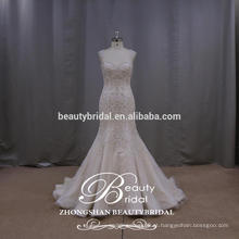 Gorgeous Queen Anne Sereia Bridsal Vestido Deslumbrante Borda Vestido de casamento Backless