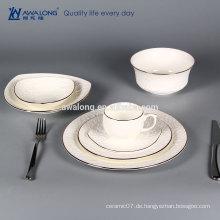 Reines weißes Porzellan-Geschirr geprägtes Rosenmuster-Geschirr dinnerset