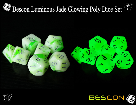 Bescon Luminous Jade Glowing Poly Dice Set-3