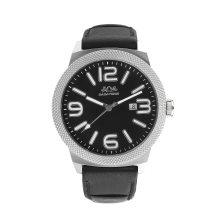 Badatong Black Genuine Leather Quartz Relógios Homens