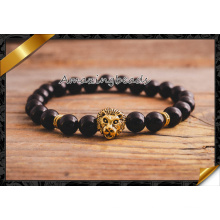 Gold Lion Armbänder Schmuck, schwarz Achat lose Stein handgefertigte Armband (CB058)