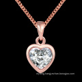 Western Style Fashion K Gold Heart Shape Zircon Pendant Necklace Rose Gold Plated Necklace Jewelry