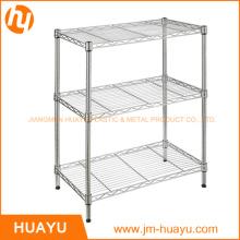 Adjustable 3-Tier Black / Silver / White Metal Frame Wire Rack