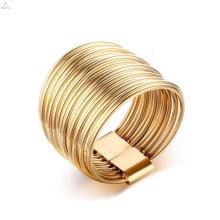 Простой Из Нержавеющей Стали Золотой Покрытием Обручальные Кольца