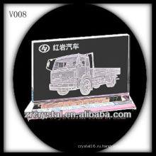 Кристалл K9 прямоугольник с пескоструйной обработкой изображения