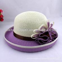 2014 señoras moda prendas de vestir de pavo real flor paja Fedora Sun sombreros