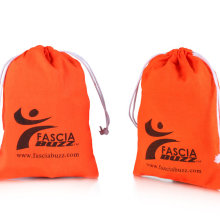 Design orange cotton jute drawstring bag