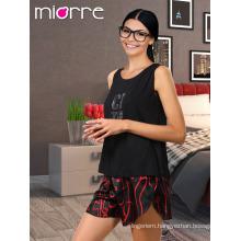 Miorre OEM New 2017 Season Women's Fashionable Sleeveless Printed Singlet Top & Satin Short Summer Pajamas Set