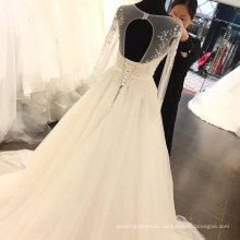 Long Sleeve Lace Embroidery Beading Wedding Dress