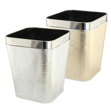 Stainless Steel Top Rim Leather Covered Open Top Trash Bin
