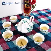 Hübsche Lotusblume gedruckte billige Tee-Set mit Teekanne / Keramik moderne niedliche Teekannen und Teesets