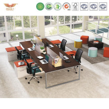 Tipical Wooden 4 Seats Office Cubicles with Alumnium Frame