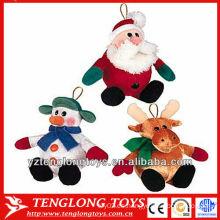 Pequeños y lindos baratos animales varios juguetes de peluche de Navidad para la decoración de árboles de Navidad