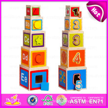 2015 Newest Cube Folding Blocks Cup Stack Toy, Hot Selling Interesting Folding Cup Toy, Funny Educational Wooden Cup Toy W13D061