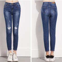 Botón de pierna recta New Fashion Sexy Women Jeans Pantalones