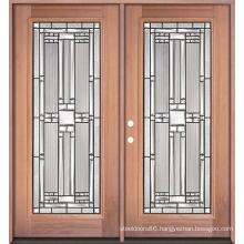 Double Iron Glass Front Wooden Doors, Entry Wood Doors