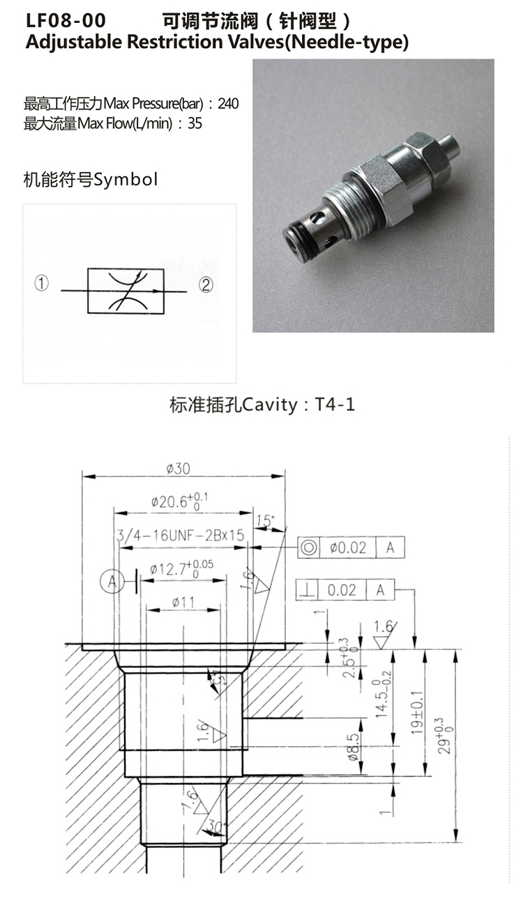 Direct Acting Poppet / Needle Hydraulic Cartridge Valve