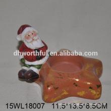 2016 best selling ceramic candle holder of christmas santa decoration