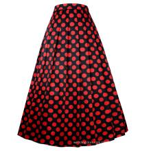 Belle Poque Vintage Retro Elastic Waist Polka Dots Pattern Swing A-Line Long Skirt BP000351-1
