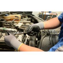 Хлопок и спандекса трикотажные Рабочая перчатка с вспененного нитрила и расставить на ладони (N1614)