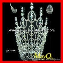 Deslumbrante grande alto Ab Crystal Rainha coroa para concursos, tiara de casamento