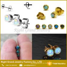 Nuevos diseños 22k oro Stud Earrings Opal Ball Post Earrings Opal Jewelry Earrings Stud