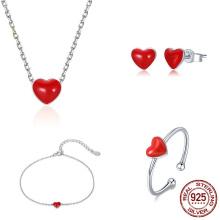 Fine Jewelry Set Elegant S925 Sterling Silver Enamel Red Heart Charm Necklace Bracelets