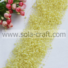 3+8MM Light Yellow Colors Acrylic Wire Pearl Beaded Garland