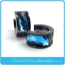 Cadeau TKB-E0008 pour les hommes unisexes en forme d'anneau en acier inoxydable avec pierre bleue