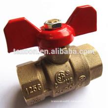 NPT full port brass ball valve with butterfly red handle CSA FM UL IAPMO