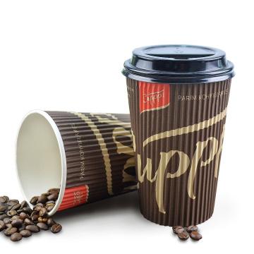 8 oz 12 oz 16 oz Double tasse de papier mural Manchon de tasse de papier chaud, manchon de tasse de café en papier personnalisé avec logo, gobelets en papier à café